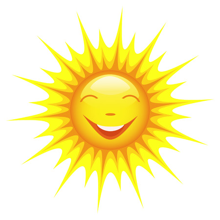 bright sun: Smiling cute cartoon sun isolated on white background, design element  Vector illustration