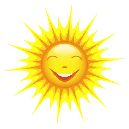 sol caricatura: Sol sonriente lindo de la historieta aislado en el fondo blanco, elemento de diseño de ilustración vectorial Vectores