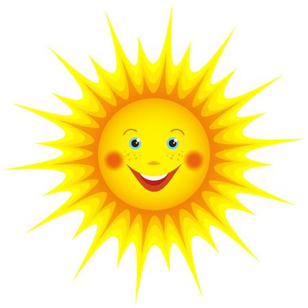 귀여운 미소 오렌지 태양 만화 디자인 흰색 배경에 고립 된 요소 벡터 일러스트 레이 션