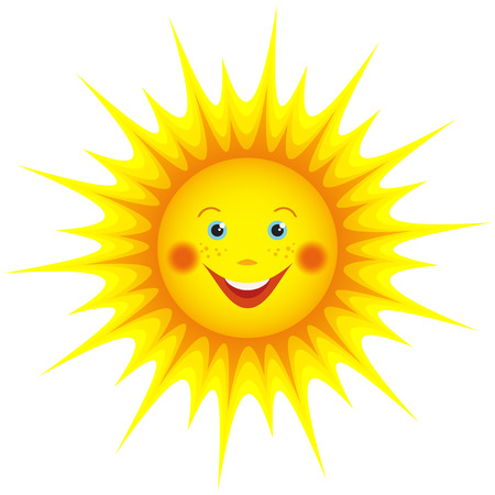 Cute smiling orange sun cartoon isolated on white background, element for design  Vector illustration