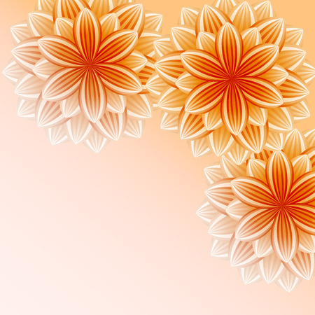 Beautiful wallpaper with orange flowers  Stylish trendy bright background  Greeting or invitation card for life events with place for text  Vector illustration Vector