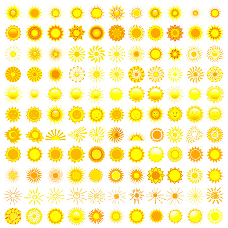 Big set of different yellow, orange and red sun isolated on white background, design element  Vector illustration Иллюстрация