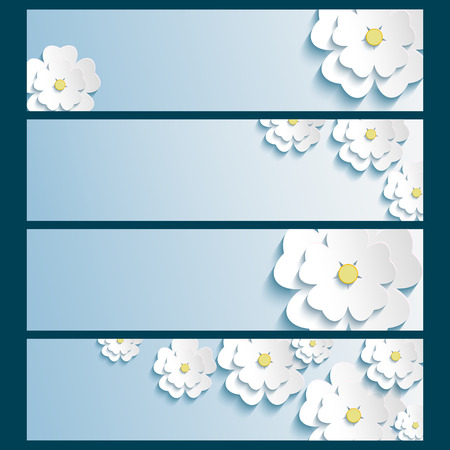 Set of stylish trendy banners with 3d blossoming flowers sakura white isolated on blue background  Beautiful modern wallpaper  Vector illustration Vector