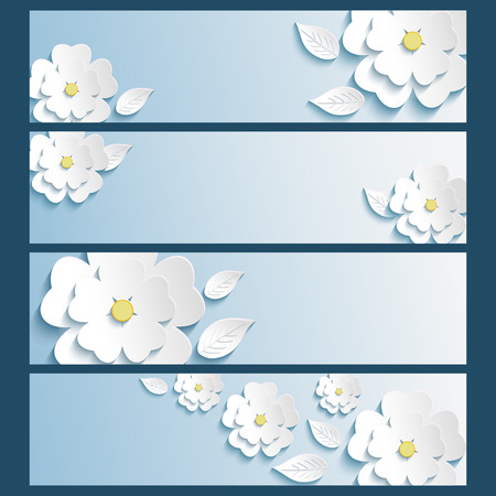 Set of stylish trendy banners with 3d blossoming flowers sakura white and leaves isolated over blue  Beautiful modern wallpaper  Vector illustration Vector