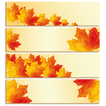 Set of banners with yellow, orange, red maple leaves isolated on white background  Beautiful stylish wallpaper with autumn leaf fall  Place for text  Vector illustration