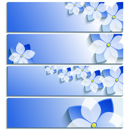 Set of horizontal banners blue with 3d blossoming sakura isolated on white background  Stylish trendy wallpaper  Beautiful greeting or invitation card  Vector illustration Vector