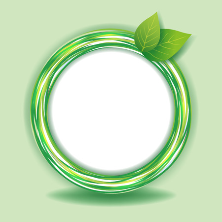 Abstract Eco background with fresh green leaves and circle    Illustration