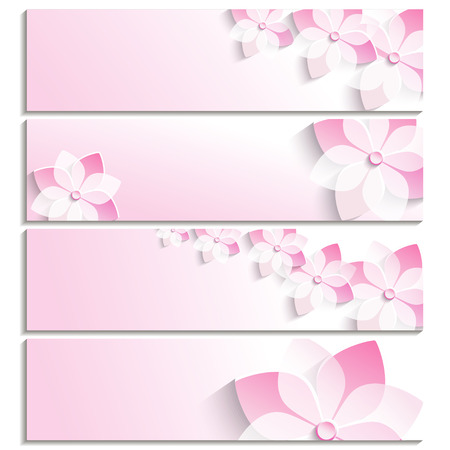Set of horizontal banners with pink 3d blossoming sakura isolated on white background  Stylish trendy abstract wallpaper  Beautiful greeting or invitation card  Vector illustration Vettoriali