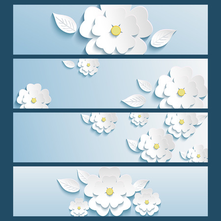Set of trendy stylish banners with white blossoming 3d flower sakura and leaf isolated  Beautiful modern wallpaper  Vector illustration Illustration