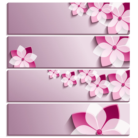 Set of horizontal banners purple with 3d blossoming sakura isolated on white background  Stylish trendy wallpaper  Beautiful greeting or invitation card  Vector illustration Vector