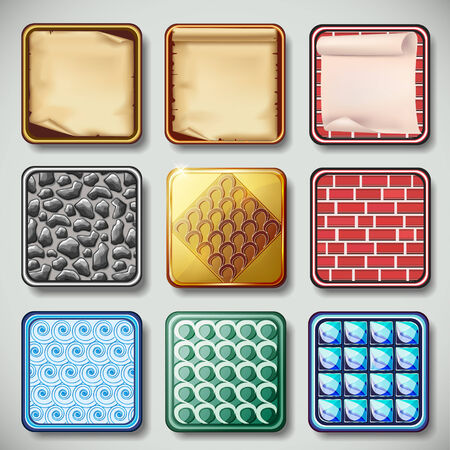Set of different colorful textured apps icons  Design elements  Vector illustration Vector