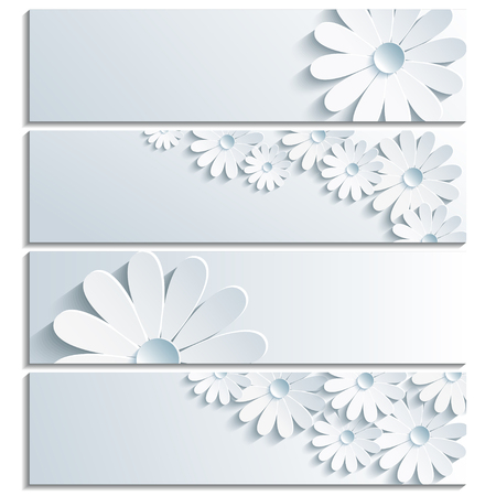 Set of beautiful banner grey with 3d flower chamomile isolated on white background  Creative trendy gray wallpaper  Vector illustration Vettoriali