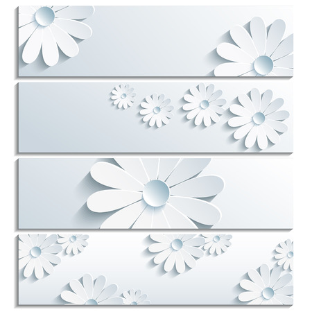 Set of beautiful trendy banner gray with 3d flower chamomile isolated on white background  Creative stylish floral wallpaper  Vector illustration