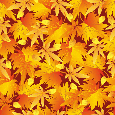 Beautiful background seamless pattern with yellow, orange, red autumn leaves  Bright stylish colorful wallpaper  Vector illustration Vector