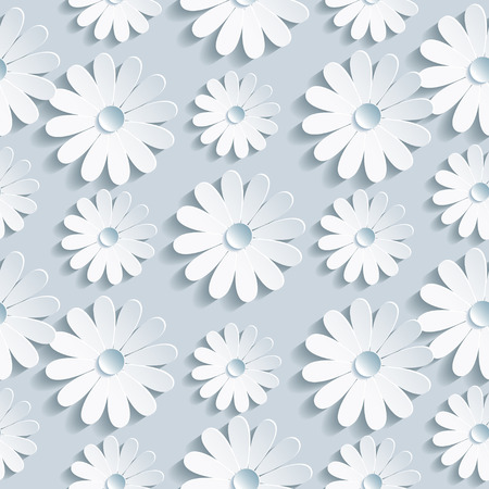 Beautiful background seamless pattern grey with white 3d flower chamomile  Floral trendy creative wallpaper  Vector illustration Иллюстрация