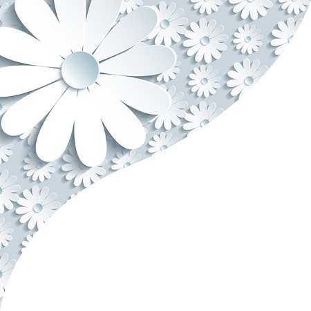 Stylish creative gray background with 3d white chamomile  Floral modern wallpaper  Place for text  Vector illustration  일러스트