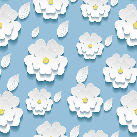 Beautiful background seamless pattern blue with white blossoming 3d flower sakura and leaves  Floral trendy modern wallpaper  Vector illustration
