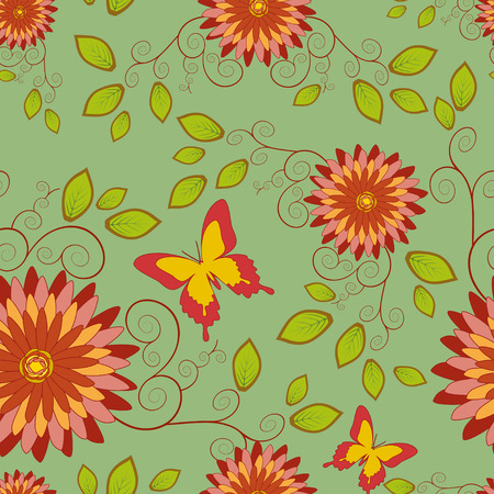 Beautiful elegant background, seamless pattern with red - orange flower chrysanthemum and butterfly in vintage style  Romantic stylish wallpaper  Vector illustration Vector