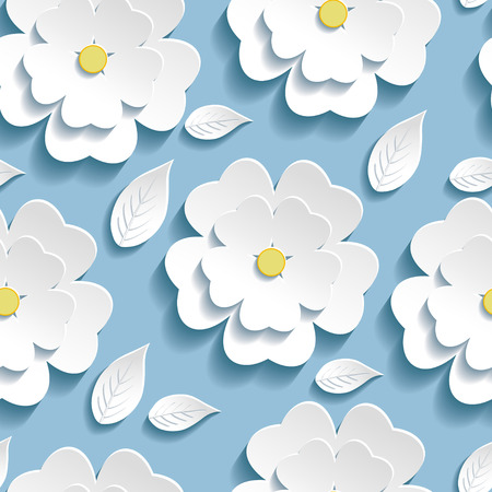 Beautiful trendy background seamless pattern blue with white blossoming 3d flower sakura and leaves  Floral modern wallpaper  Vector illustration Vectores