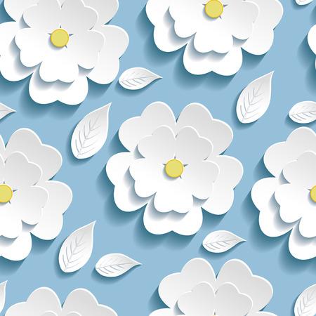 flor de sakura: Fondo de moda Hermosa modelo inconsútil azul con flor blanca sakura 3d flores y hojas floral moderna Ilustración de papel tapiz Vector