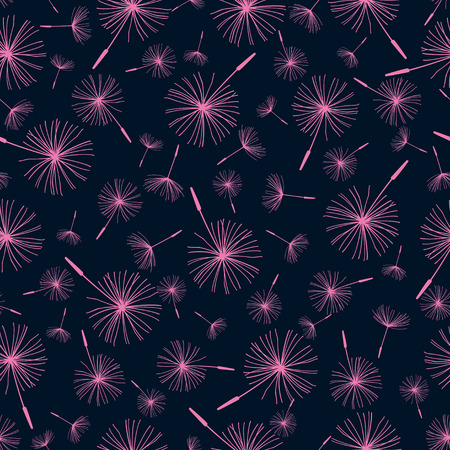 Beautiful background seamless pattern black with pink dandelion fluff  Elegant stylish trendy wallpaper  Vector illustration Vector
