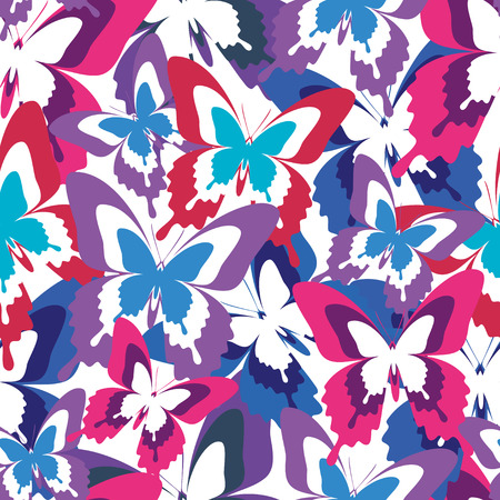 Beautiful background seamless pattern with flying violet, red, blue butterflies over white  Bright stylish trendy wallpaper  Vector illustration Vector