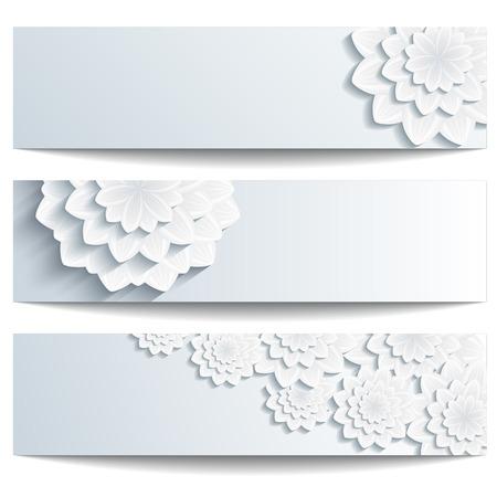 灰色白い背景ベクトル図のテキストのための場所で創造的なスタイリッシュな花の壁紙上に分離されて、3 d の花菊と美しいトレンディなバナーの設