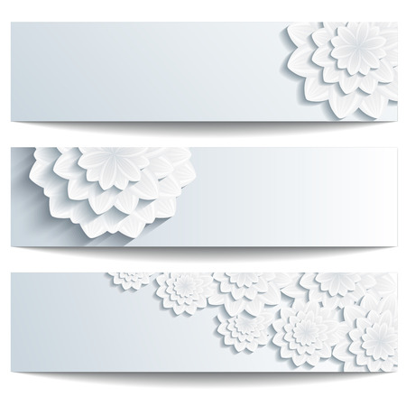 Set of beautiful trendy banner gray with 3d flower chrysanthemum isolated on white background  Creative stylish floral wallpaper with place for text  Vector illustration Illustration