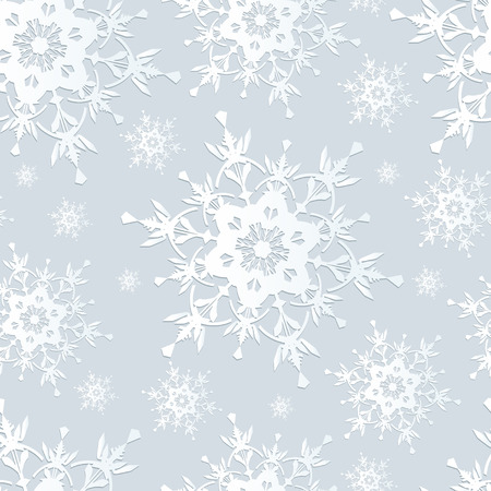 Beautiful seamless pattern with white ornate snowflakes  Winter gray seamless wallpaper for New Year and Christmas   Vector illustration  Vector