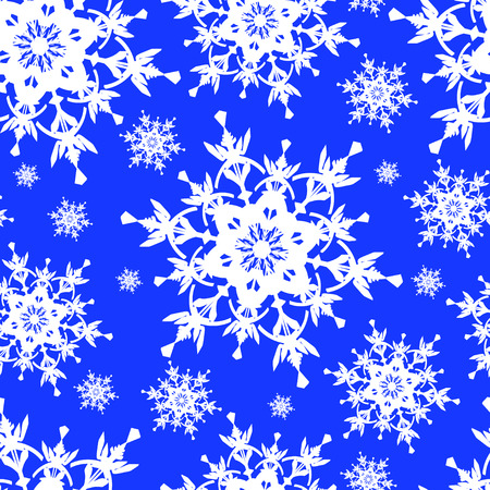 Beautiful seamless pattern with white ornate snowflakes  Winter blue seamless wallpaper for New Year and Christmas   Vector illustration  Vector