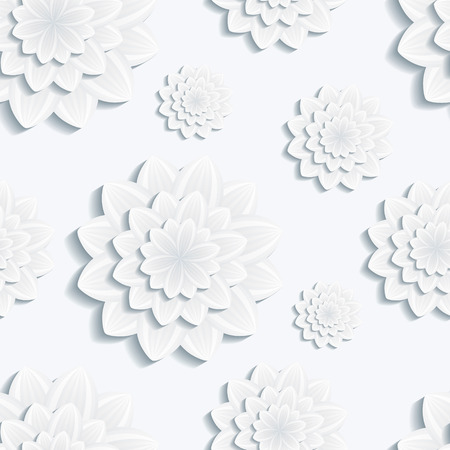 3d flower: Beautiful background seamless pattern with grey 3d flower chrysanthemum  Floral trendy creative wallpaper  Vector illustration