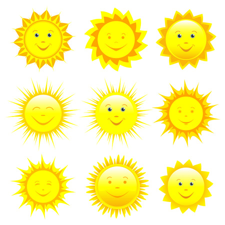 Set of different smiling yellow, orange and red sun isolated on white background, element of design. Ilustração