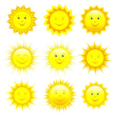 Set van verschillende lachende gele, oranje en rode zon op een witte achtergrond, onderdeel van het ontwerp. Stockfoto - 31660950