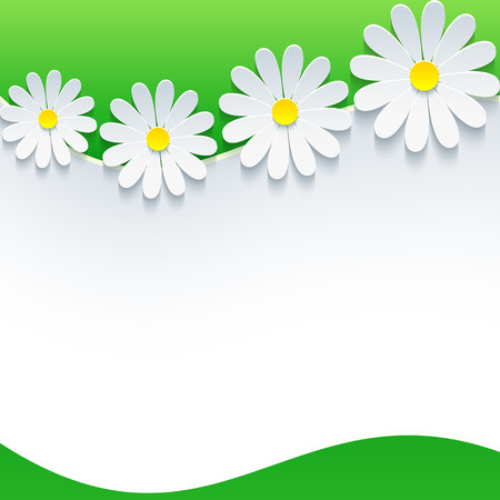 3d flower: Floral frame with white 3d flower chamomile. Beautiful trendy spring or summer background with sheet of paper, place for text.