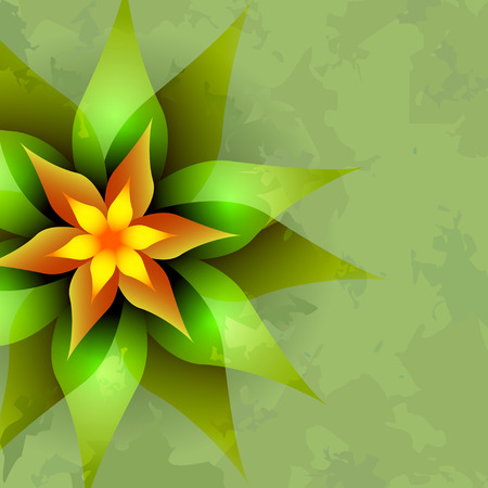 Beautiful vintage green background with abstract glowing flower. Greeting or invitation card. Vector illustration Vector