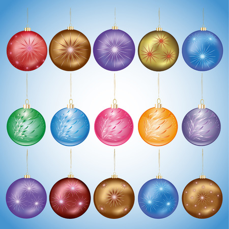 Set of beautiful colorful glass Christmas balls, isolated on blue background. Festive decorations, elements of design. Vector illustration Vector