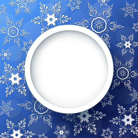 Winter background abstract blue with 3d snowflakes, trendy round frame. Christmas and New Year festive card with place for text. Vector illustration Vector