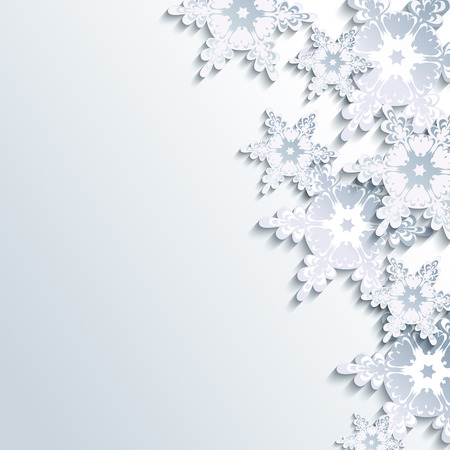Stylish creative gray background with abstract 3d snowflake. Trendy winter wallpaper with white and grey ornate snowflakes. Beautiful New Year and Christmas card with place for text. Vector illustration