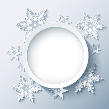 3d circle: Winter abstract modern background with 3d white and grey snowflakes, trendy round frame. Christmas and New Year stylish card with place for text. Vector illustration Illustration