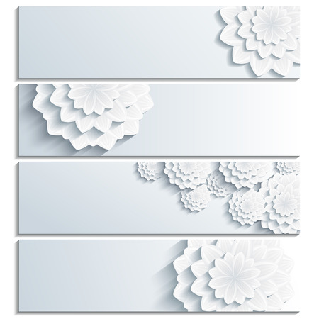 Set of beautiful stylish gray banners with 3d flower chrysanthemum isolated on white background. Creative trendy floral wallpaper with place for text. photo