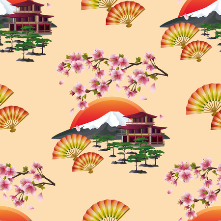 Beautiful golden background seamless pattern with branch of blossoming pink sakura  - cherry tree, japanese landscape, two fans and traditional japanese house. Floral spring wallpaper. Graphic design. Vector illustration Vector