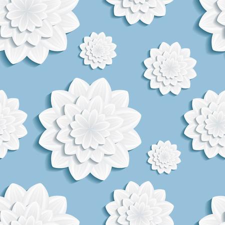 3d flower: Beautiful background seamless pattern blue with 3d grey flower chrysanthemum. Floral trendy creative seamless wallpaper. Vector illustration