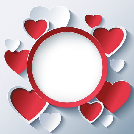 decorative card symbols: Stylish creative abstract background with red and white 3d hearts. Valentines Day frame with stylized hearts. Beautiful love card for Valentines day. Vector illustration.