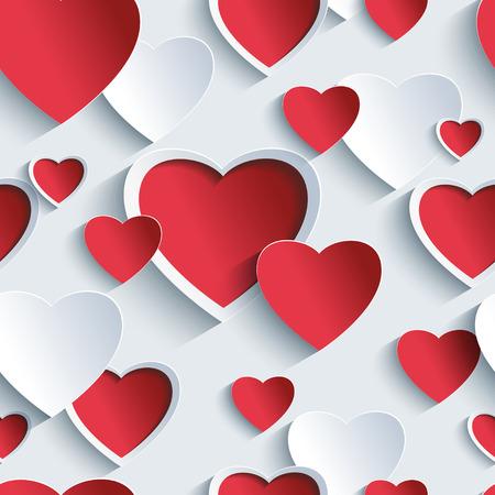 Stijlvolle Valentijnsdag achtergrond naadloze patroon met rood - grijs 3d harten. Creative abstract behang met hartjes. Enquête voor Valentijnsdag. Vector illustratie.