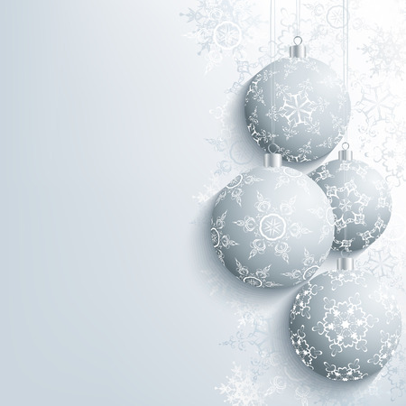 fir tree balls: Festive New Year and Christmas card grey with christmas ball and snowflake. Beautiful stylish New Year and Christmas background. Celebratory winter wallpaper. Vector illustration