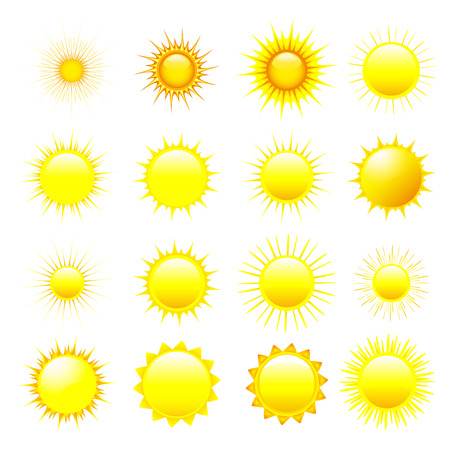 Set of stylized yellow, orange and red sun isolated on white background, element of design. Vector illustration Vector