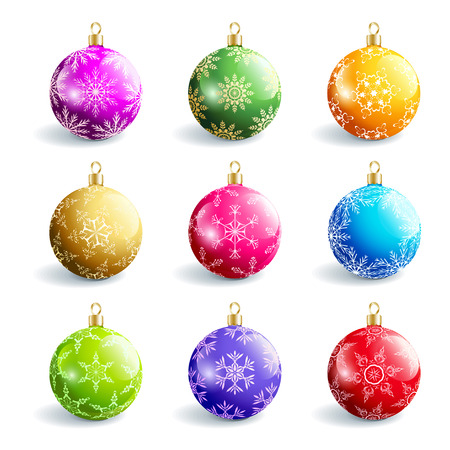 Set of beautiful colorful glass Christmas balls, isolated on white background. Festive decoration, element of design. Vector illustration