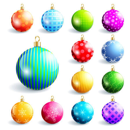 Set of glowing colorful glass Christmas and New Year balls, isolated on white background. Beautiful festive decorations, element of design. Vector illustration Vector