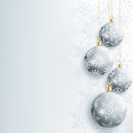 celebratory: Beautiful festive New Year and Christmas card gray with christmas ball and snowflake. Stylish New Year and Christmas background. Celebratory winter wallpaper. Vector illustration