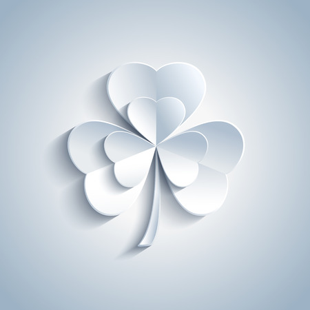 irish banners: Beautiful Patricks day card with grey 3d leaf clover. Trendy gray Patricks day background. Modern spring background. Vector illustration